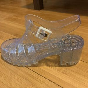 Clear jelly sandals with glitter. Size 7